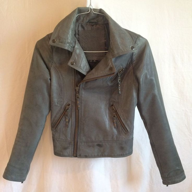 For Joseph Genuine Leather Gray Motorcycle Jacket, size XS, Fully Lined #ForJoseph #Motorcycle