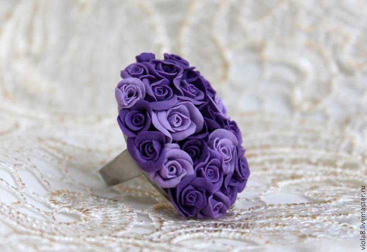 """Купить Кольцо фиолетовое розы из полимерной глины""""Южные сумерки"""" - кольцо с цветком, кольцо с розой"""