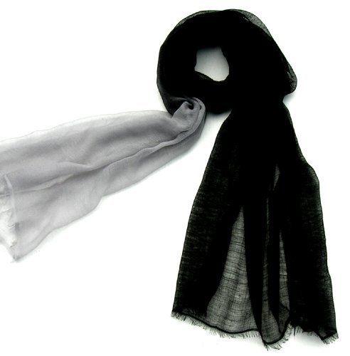 "Ombre Sheer Pure Pashmina Scarf Shawl for Women in Black/Silver Grey 28"" W x 80"" L Rocky Mountain Emporium. $39.95"