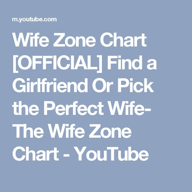 Wife Zone Chart [OFFICIAL] Find a Girlfriend Or Pick the Perfect Wife- The Wife Zone Chart - YouTube