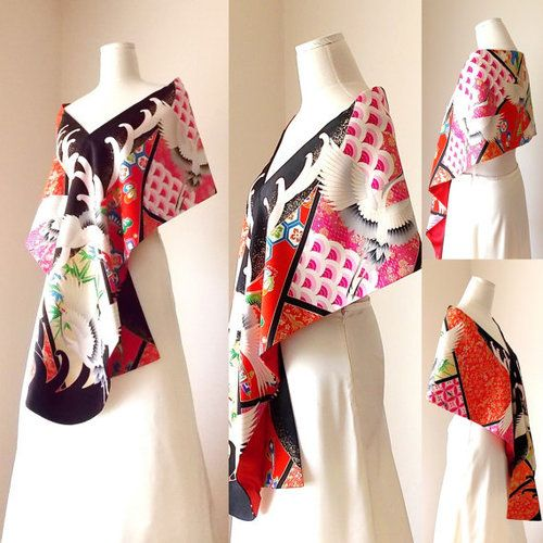 Wow, what a gorgeous wedding shawl ETSY shop, Shantique, made! The fabric is from a vintage kimono and couldn't be more beautiful! Pretty cranes and flower motifs on a geometric pattern and bright...