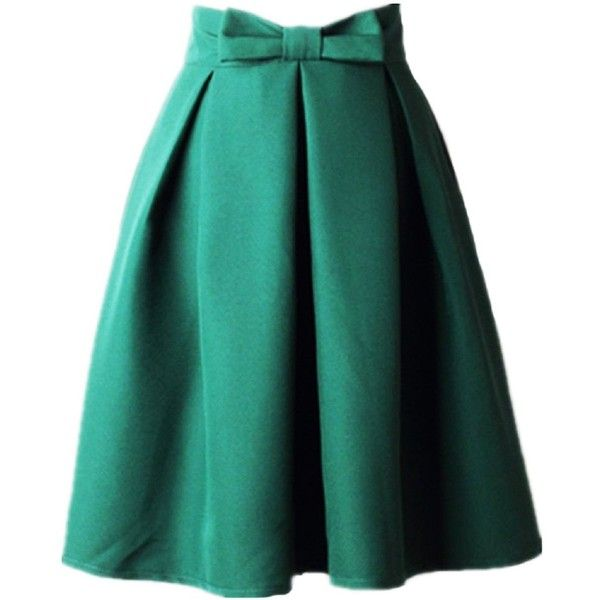 Women's A Line Pleated Vintage Skirt High Waist Midi Skater with Bow... ($19) ❤ liked on Polyvore featuring skirts, high-waist skirt, a line midi skirt, green pleated skirt, vintage high waisted skirts and high-waisted midi skirts