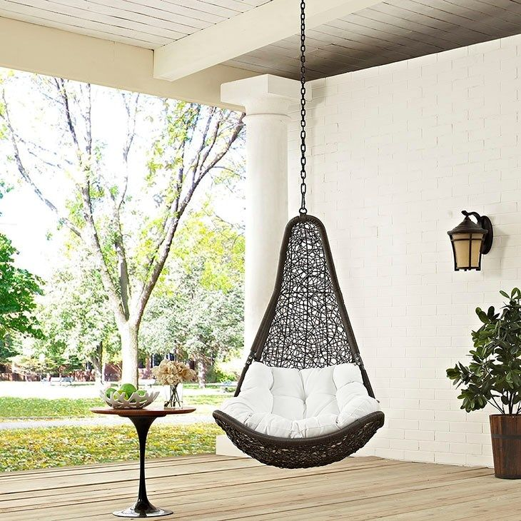 LexMod - Abate Outdoor Patio Swing Chair Without Stand in Gray White