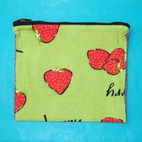 Strawberry Zippered Clutch - Mookie Designs