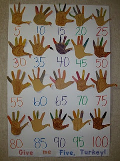 Creative idea to teach students how to count by five's in Grade One! Each student traces their hand, gets assistance cutting it out and can decorate whatever way they wish. Posted in the classroom to show that each hand has 5 fingers, and count up by 5's.