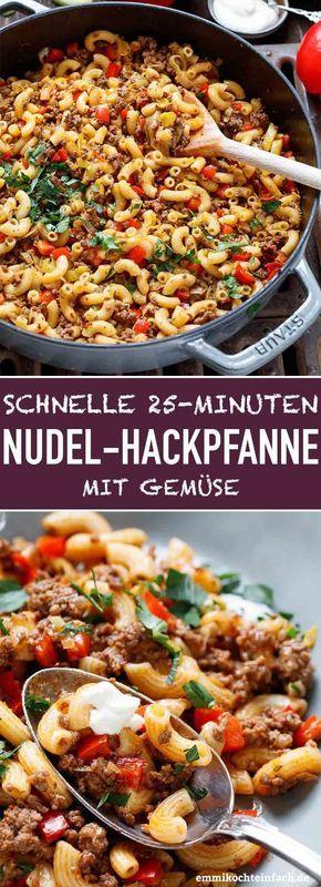 Schnelle Hackpfanne mit Hörnchennudeln und Gemüse Das einfache Rezept wird sein …   – Essen,dips