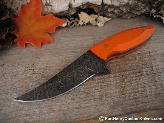 "Olamic Cutlery, Companion Neck Knife with 2 1/2 "" Vanadium Damascus blade.  $150"