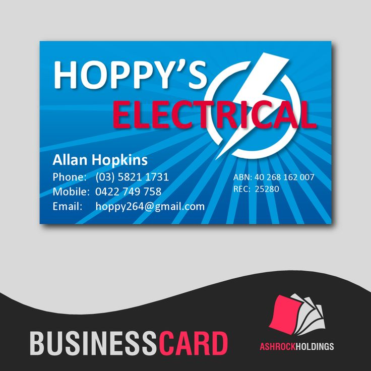 Hoppy's Electrical - Electrician Business Card | #businesscard #electrician #electrical #cmyk #printer #printing