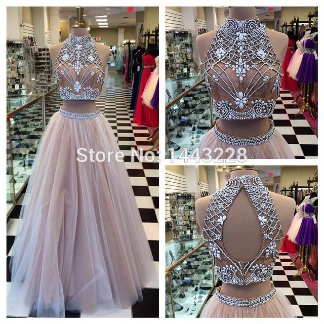 a358263b3630a A Line High Neck Tulle Beaded Puffy Crop Top Prom Dress with Keyhole ...