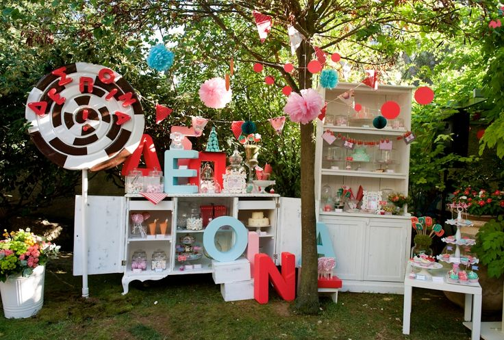 French Patisserie Christening Event @ Private Villa In Ekali | De Plan V. garden, dessert corner, off white wooden vintage furnitures, monograms, twisted lollipop, candies!