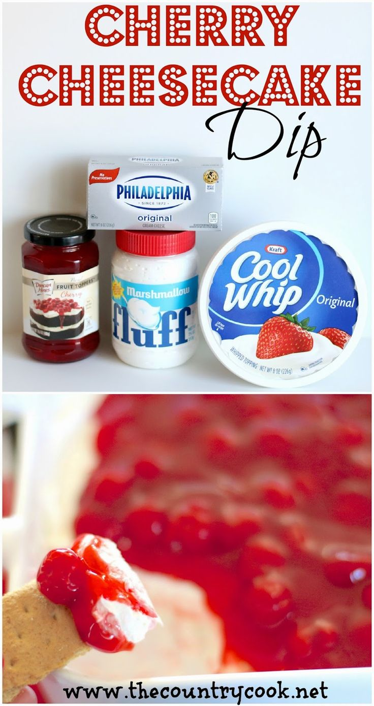 Cherry Cheesecake Dip from The Country Cook. Creamy marshmallow layer topped off with cherry pie filling. Serve with graham crackers and it is like scooping up cheesecake!