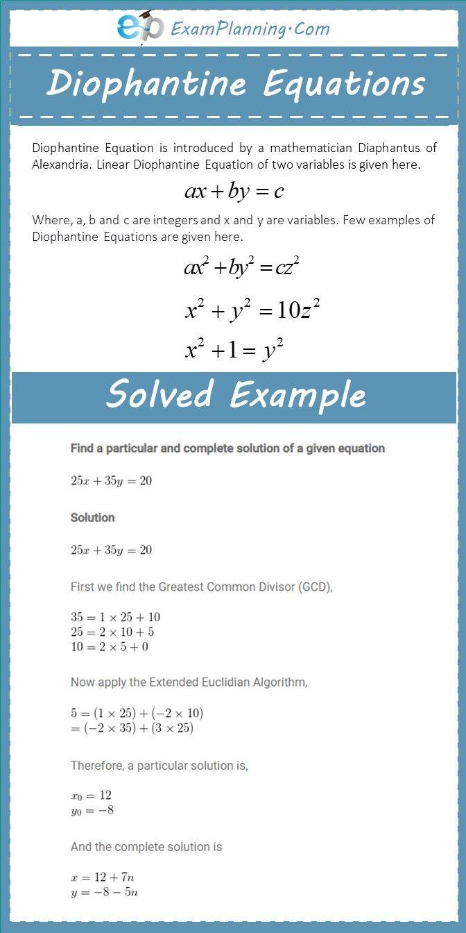 What Is Diophantine Equation Examples With Solutions Diophantine Equation Quadratics Algebra Equations