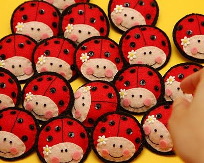 Ladybug broaches or maybe beanie bags