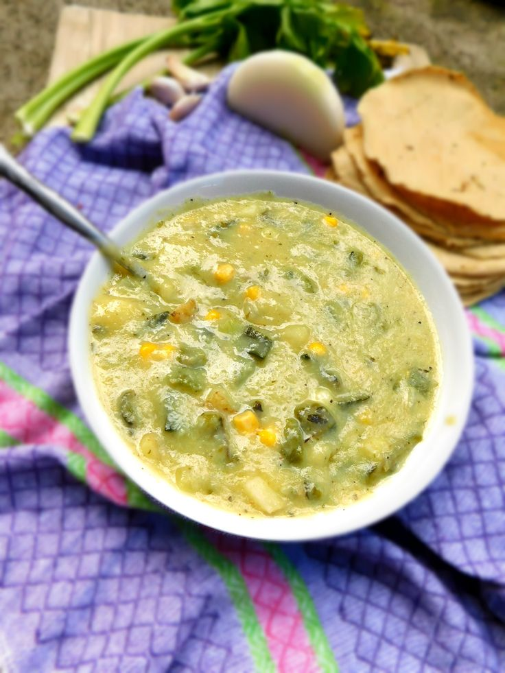 Vegan Roasted Poblano and Corn Chowder