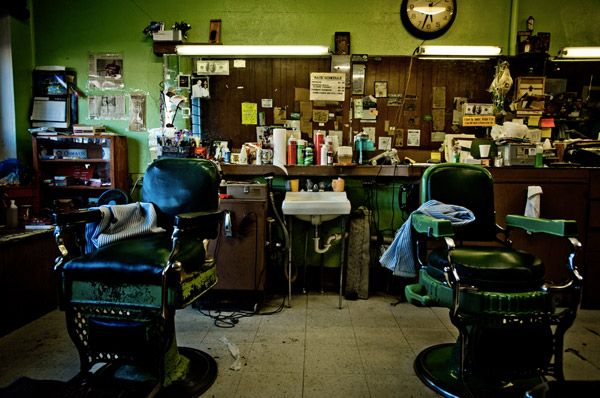 """Imperial Barber Shop, Omaha, Nebraska. (Rob Hammer photo from his 2014 book """"Barbershops of America"""". Rob notes: """"On the outskirts is on old neighborhood that locals and tourists probably don't go to unless they need a haircut. If you drive down 24th Street, you'll have no problem finding a barber. There is a bunch on new blood, and a couple of real shops that seem like they opened their doors before any houses were even built around them. Imperial Barber Shop is one of them."""")"""