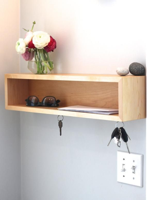 Entryway Organizer Floating Shelf With Magnetic Key Hooks In Etsy In 2020 Floating Shelves Shelves Entryway Organization