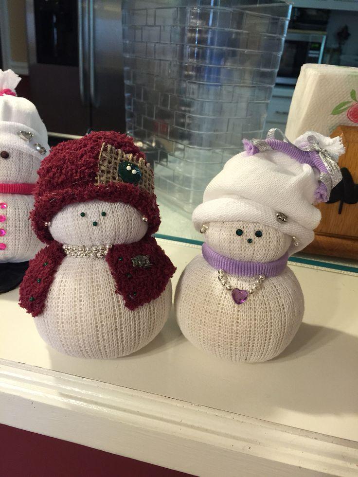 Sock & Rice Snowmen