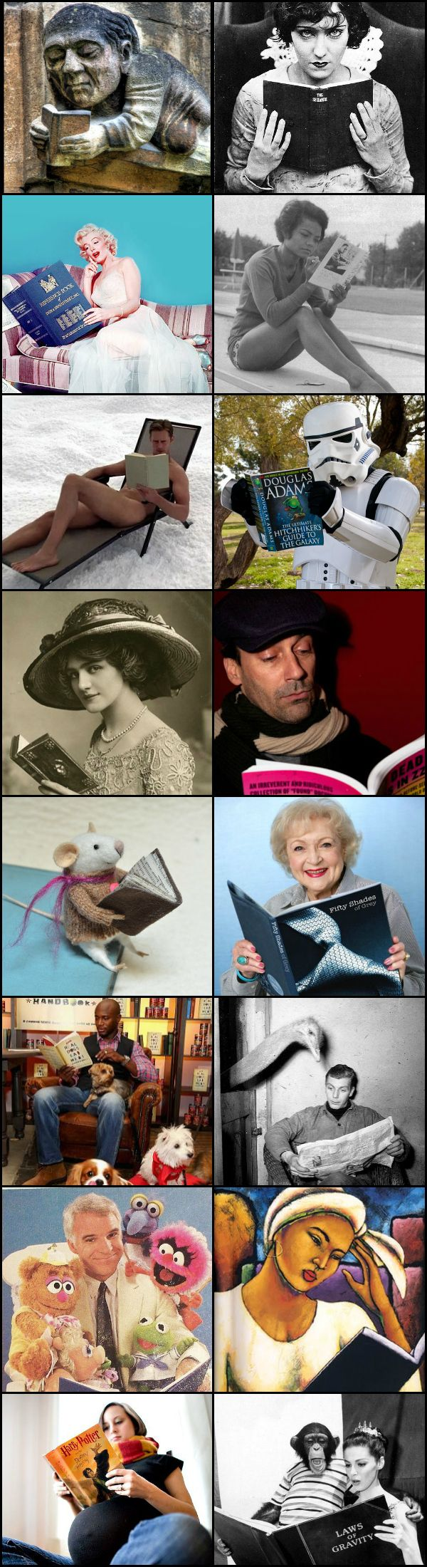 Readers reading: featuring the Muppets, Jon Hamm, Eartha Kitt, Marilyn Monroe, Taye Diggs, a chimpanzee, Gloria Swanson, naked Alexander Skarsgård, Lily Elise, and more. Via Diamonds in the Library
