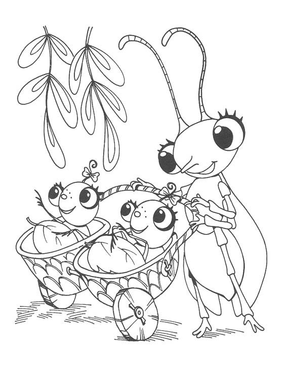 miss spider and two baby spider coloring page