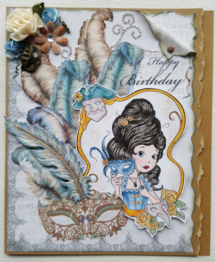 This week I will be entering my card into the The Paper Shelter Birthday Card Challenge and Blog Hop.  My stamps is called Venice Carnival, I cololured her with Copics and added Start Dust Stickles. I used distress ink to stamp some music notes in the background (the stamp is part of a Bo Bunny set). My papers are from the Craftworks Venetian paper pad. I coloured one die cut feather to match my papers. I added some flowers and a vintage charm and swirly pearls to finish it all off.