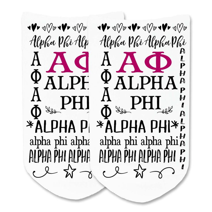 Alpha Phi - Vintage Sorority Names Full Print No-Show Socks - 1 pair