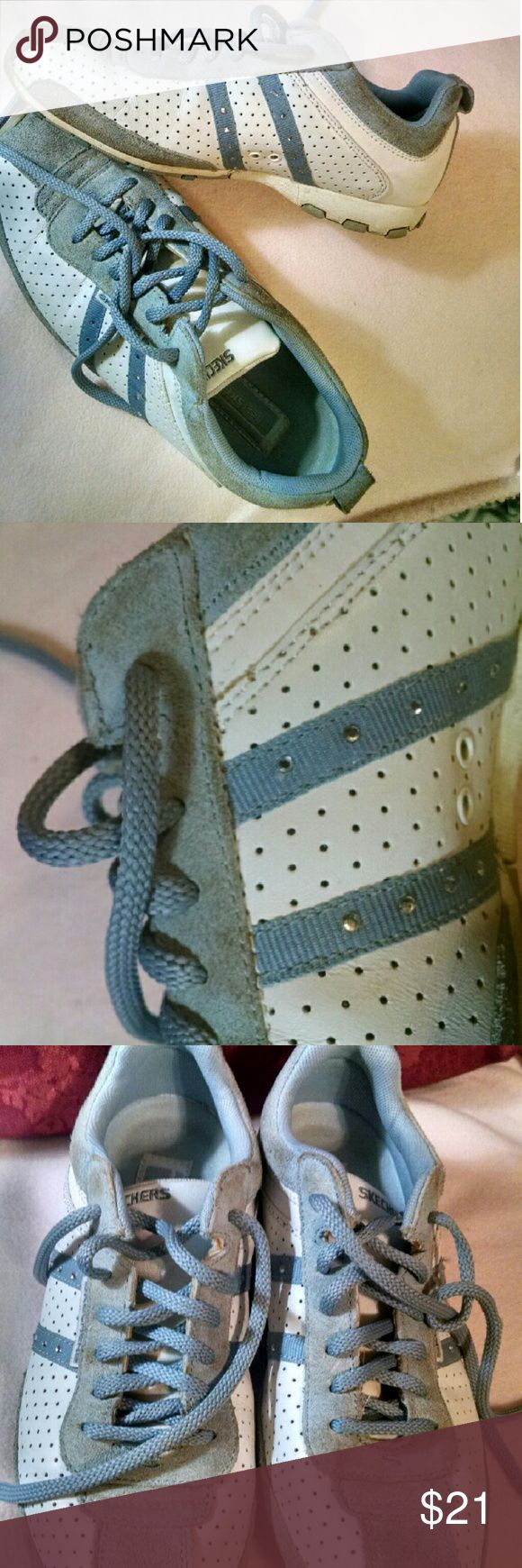 BOGO FREE💕Sketchers shoes Cute white and  blue sketchers..Very small silver studs bring a bit  'o bling. Excellent used condition. sketchers Shoes Athletic Shoes