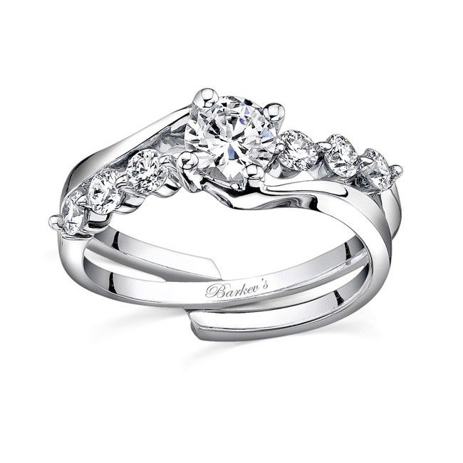 barkevs white gold diamond engagement ring set 7540sw - Interlocking Wedding Rings