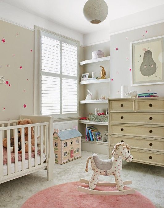 In a child's bedroom use lower shelves to store books and toys and shelves they can't reach to display pretty mementos or photographs