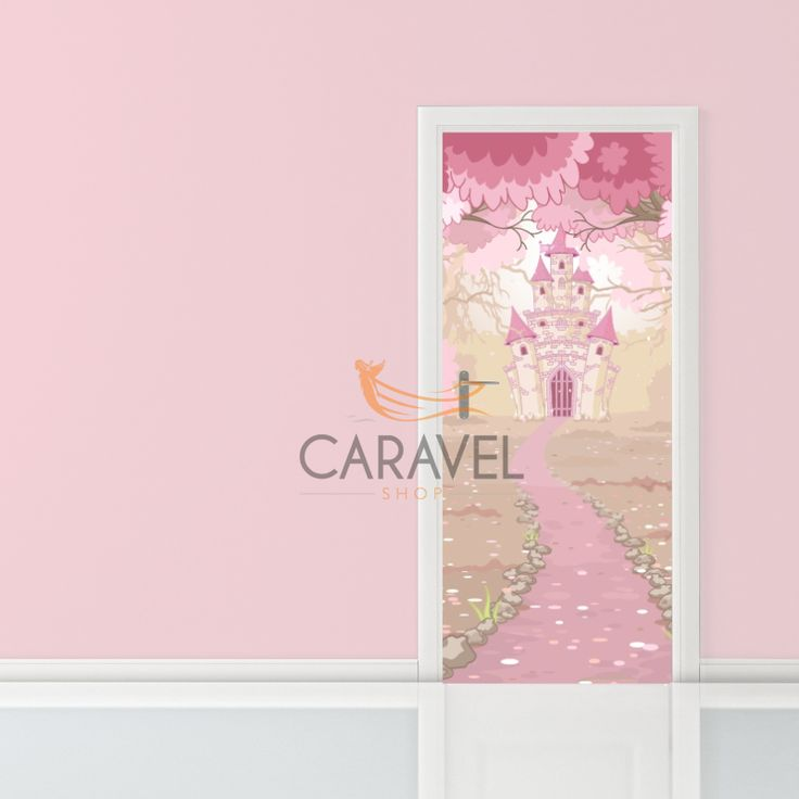 Παιδικό Αυτοκόλλητο Πόρτας ροζ κάστρο