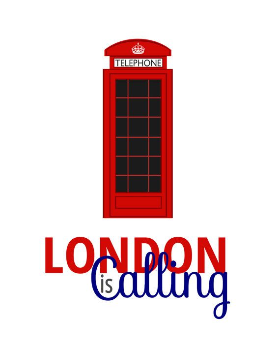 Quote print London is Calling, Will you answer it? Illustrated art print designed by artist Natalie Phillips of The Bella Print Shop Paper size
