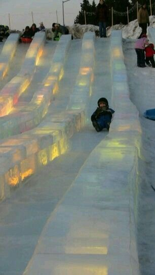 Winter ice slide in Fairbanks, Alaska