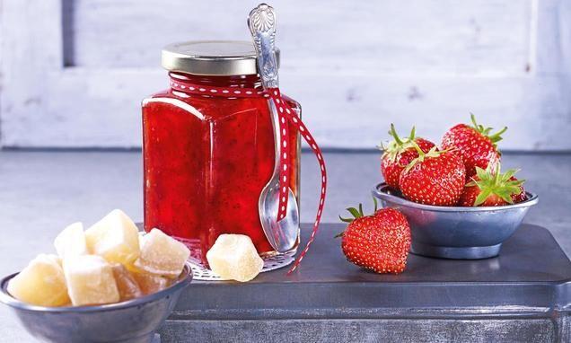Erdbeer-Ingwer-Konfitüre                              -                                  Rubinrot, köstlich und unendlich aromatisch