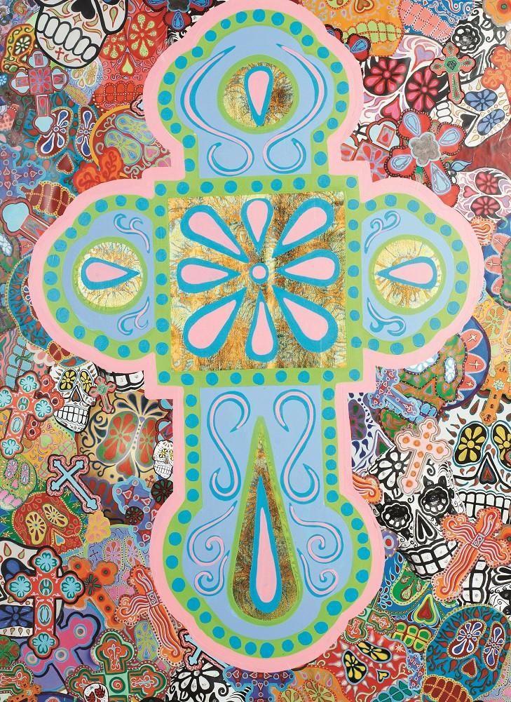 Dead Cross by Malibloc Sugar Skulls & Crosses Artwork Canvas Art Print