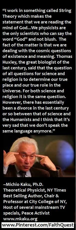 Micchio Kaku - on the divorce between science and religion.
