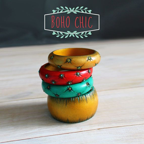 Boho chic wooden painted engraved bracelets, bangles. Decorated  with beads and rhinestones.