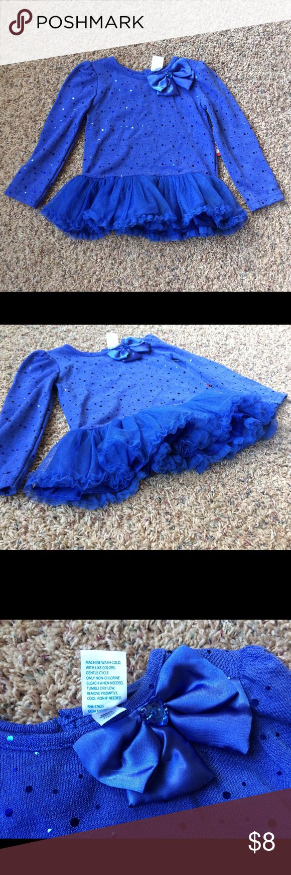 New Blue Sparkle Tutu Long Sleeve Top 3T Brand new with tags. Polyester/spandex blend. Gadgets Shirts & Tops