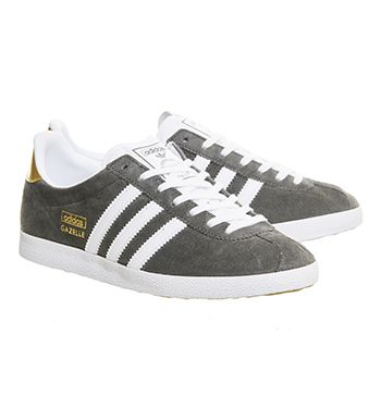 Buy Ash White Metallic Gold Adidas Gazelle Og Trainers from OFFICE.co.uk.