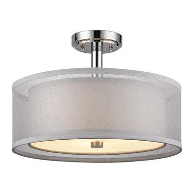 dolan designs recesso double organza 3 light semi flush mount u0026 reviews wayfair
