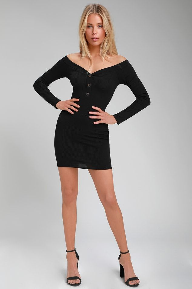 047833159b33 Lulus | Avina Black Ribbed Off-the-Shoulder Bodycon Dress | Size ...