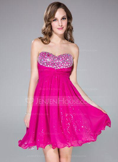 [US$ 108.99] Empire Sweetheart Short/Mini Chiffon Prom Dress With Ruffle Beading (022042806)