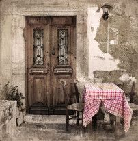 Fototapeta Salon 267 – prowansja, uliczka, knajpka, obrus, okno, uliczka
