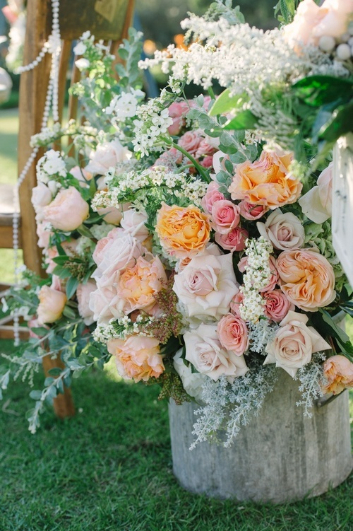 Love this mix of flowers-roses, astilbe and other delicate flowers!