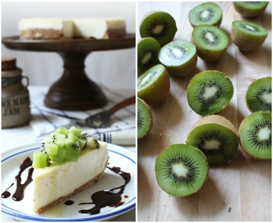 Kiwi Cheesecake with a Cashew Crust--the chessecake itself looks great, but I used this for the crust, replacing almond flour rather than white flour--yum