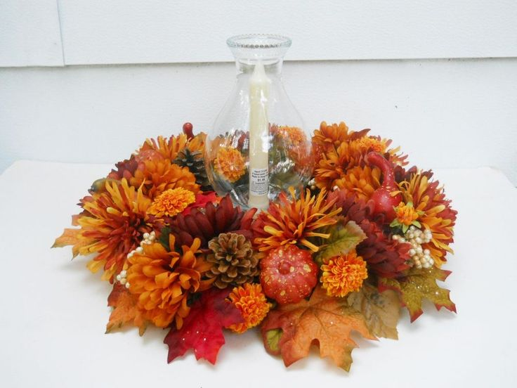 Fall Silk Flower Arrangement,Table Centerpiece, Glass Hurricane Lamp,  Handmade