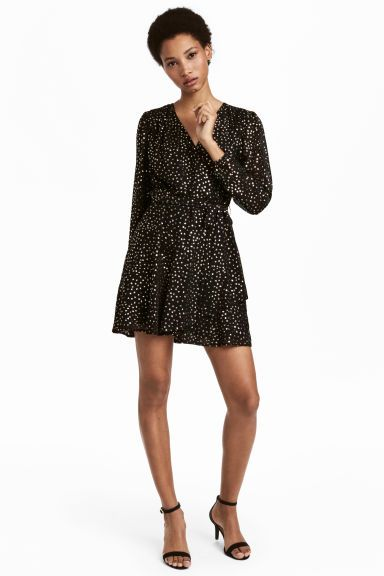 Glittery wrap dress - Black/Gold-coloured - Ladies | H&M GB 1
