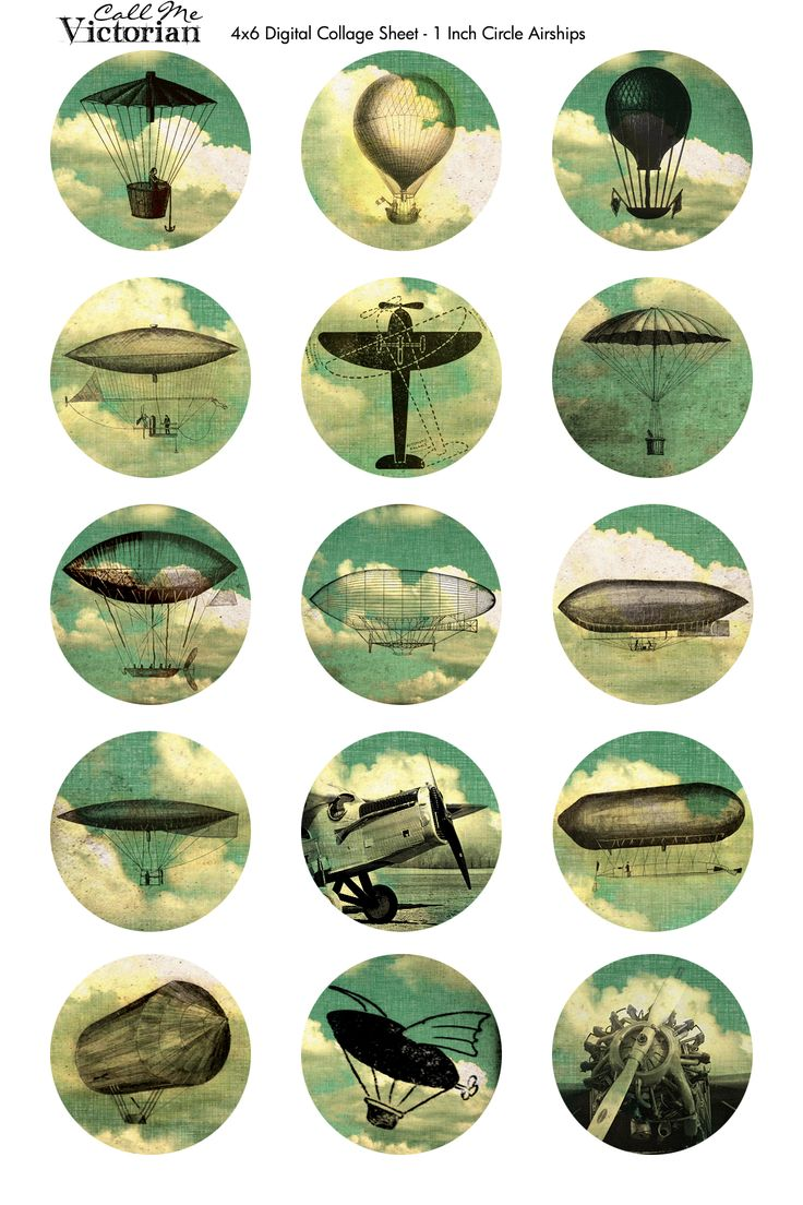 Free Digital Collage Sheet - Airships | Call Me Victorian