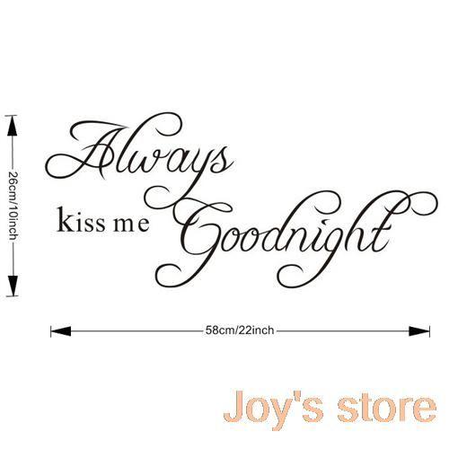 """Бесплатная доставка 22.8 """" x 10.2 """" всегда поцелуй меня на ночь DIY съемный искусство цитата стены стикера дома настенной росписи украшения купить на AliExpress"""