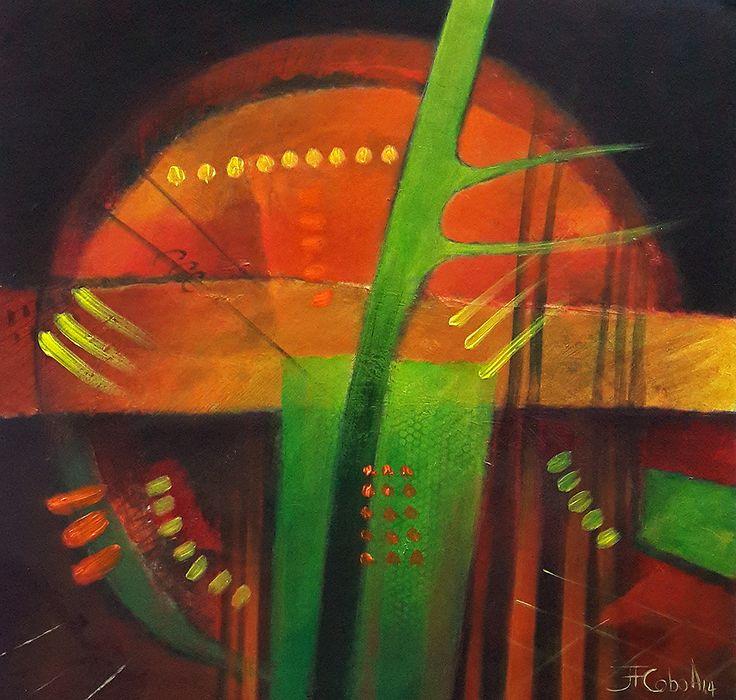 """JUAN FERNANDO COBO A. """"Luna Roja"""" 60 x 60 cm. Acrílicos sobre tabla 2014"""