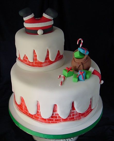 Santa down the Chimney Christmas Cake  <3
