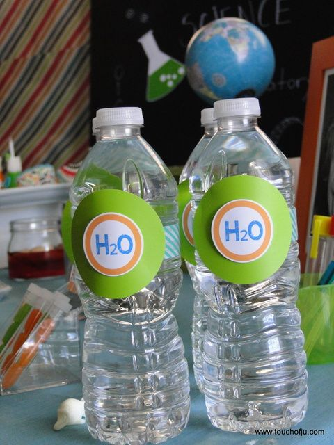 Fun water bottle decorations at a Mad Scientist party!